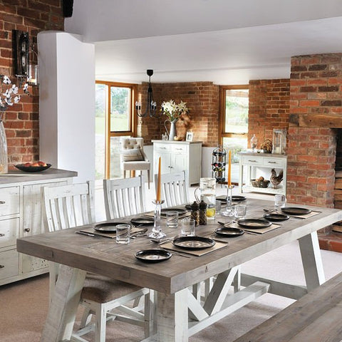 Dorset Purbeck Reclaimed Wood Trestle Table Dining Set