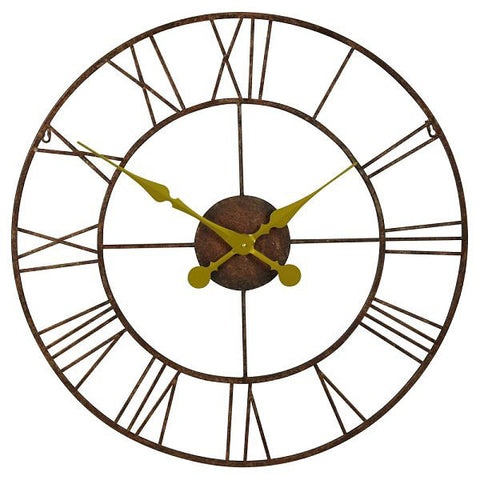 Large Rustic Metal and Gold Wall Clock 76cm