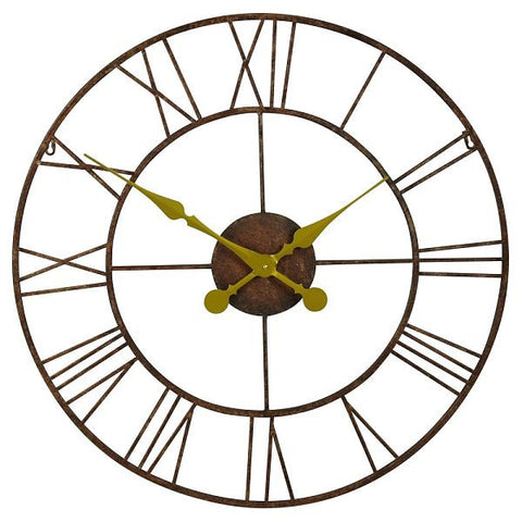Large Rustic Metal and Gold Wall Clock 76cm for Hallway