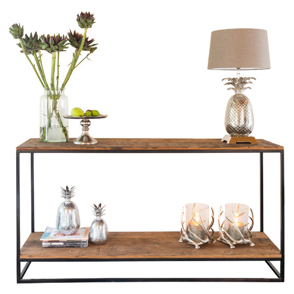Raffles Reclaimed Wood Industrial Console Table with Flowers and Lamp