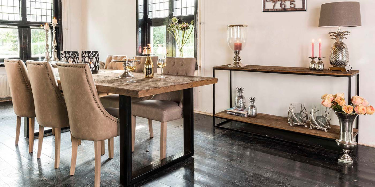 Raffles Reclaimed Wood Industrial Console Table in Dining Room