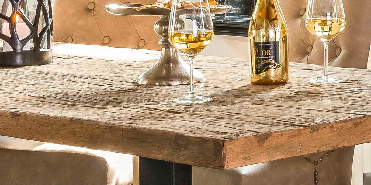 Raffles Reclaimed Wood Industrial Dining Table Top Close up