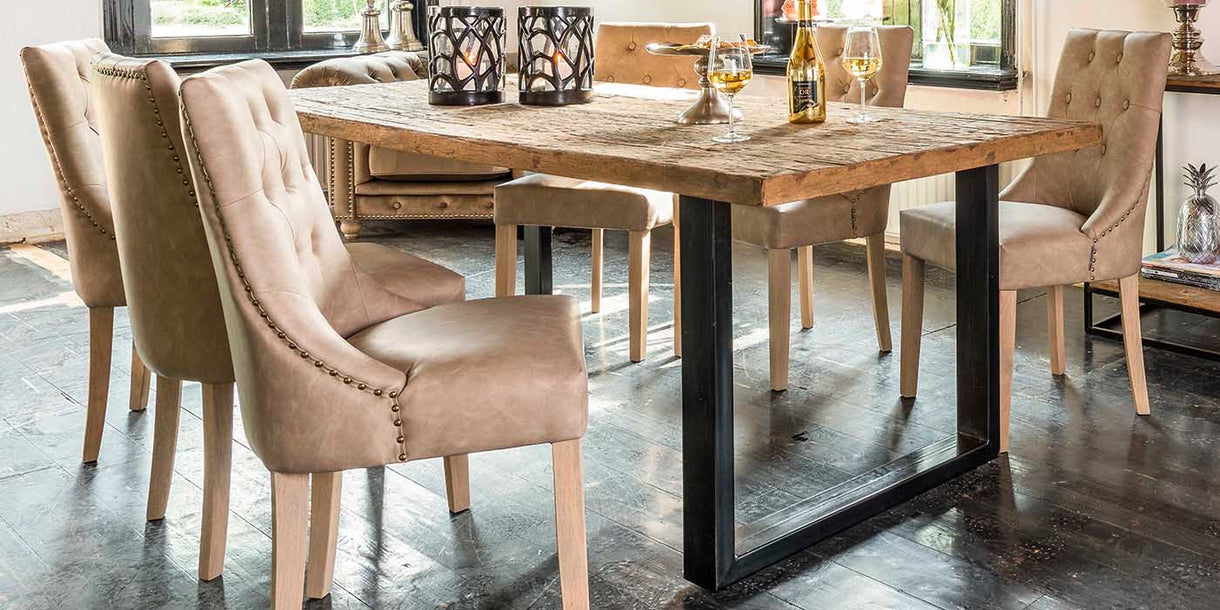 Raffles Reclaimed Wood Industrial Dining Table and Console