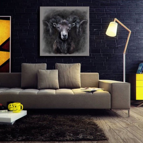 ram portrait canvas painting contemporary art