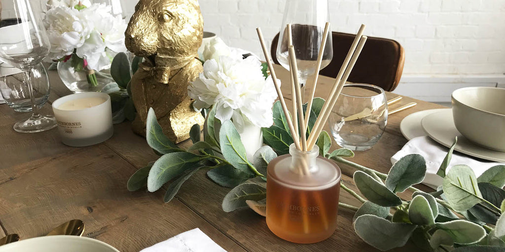 Rathbornes White Pepper and Honeysuckle Reed Diffuser on Oak Table