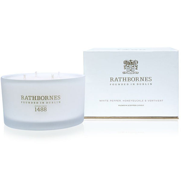 Rathbornes White Pepper and Honeysuckle Luxury Candle