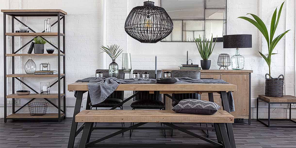 Rattan Gaze Pendant Light above industrial dining table