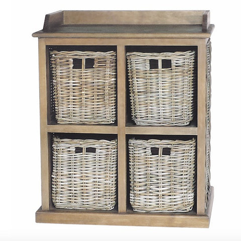 Rattan May Reclaimed Wood 4 Drawer Storage Unit for hallway