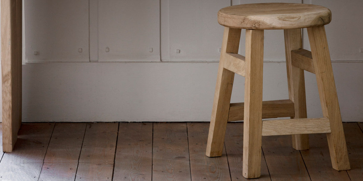 Raw Light Oak Small Stool