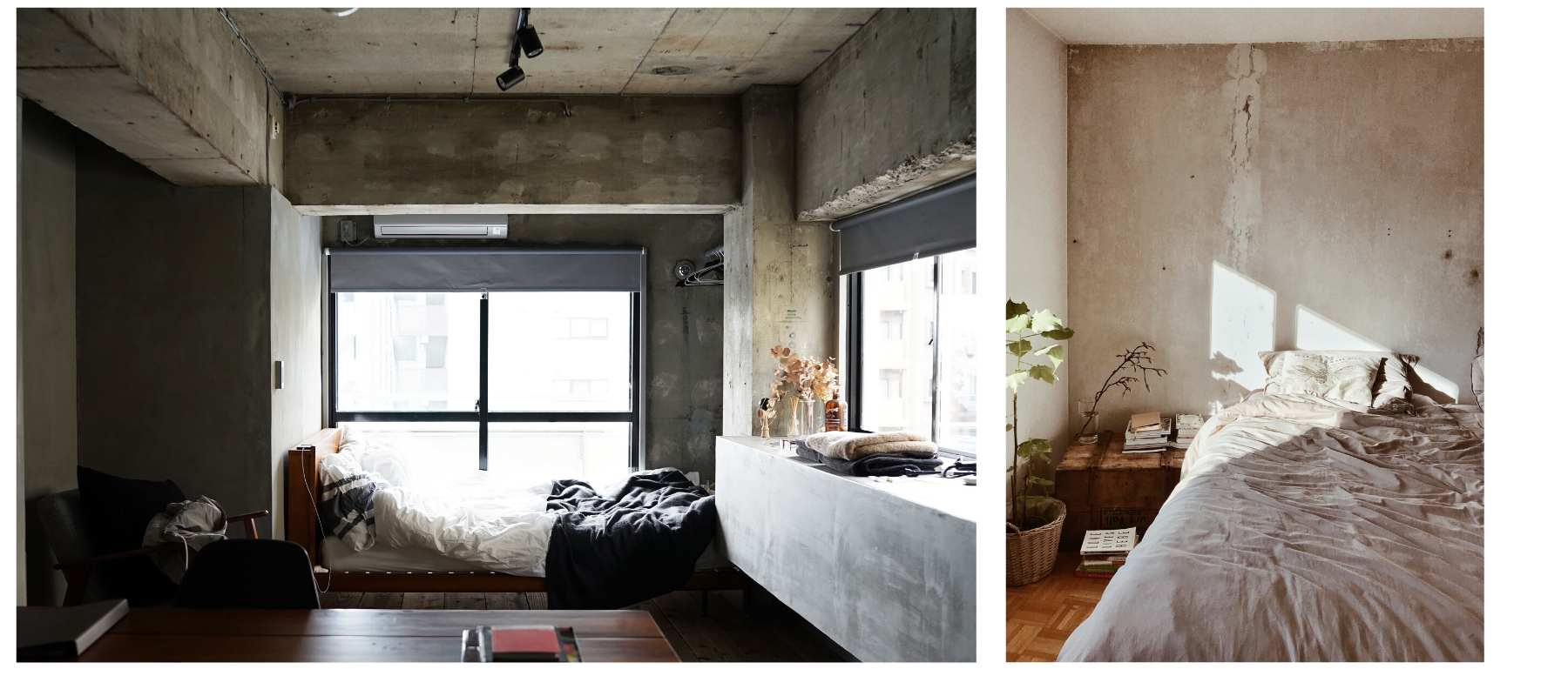 Industrial style bedrooms with raw plastered walls