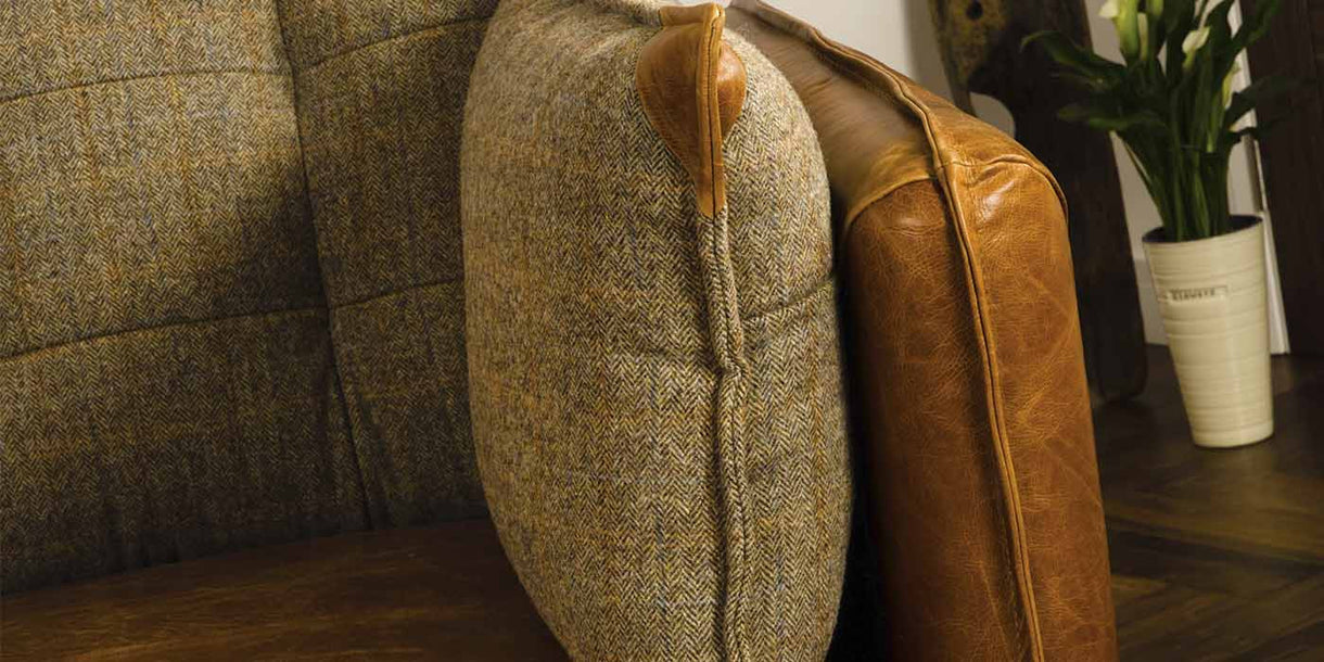 Regal Leather & Harris Tweed Sofa Close Up
