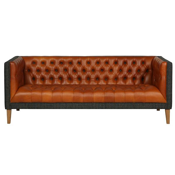 Bristol Leather and Harris Tweed Sofa