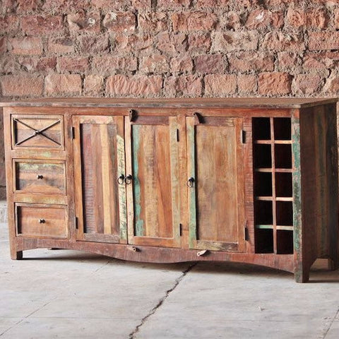 Riya Reclaimed Wood Sideboard Cabinet and Wine Rack for Dining Room
