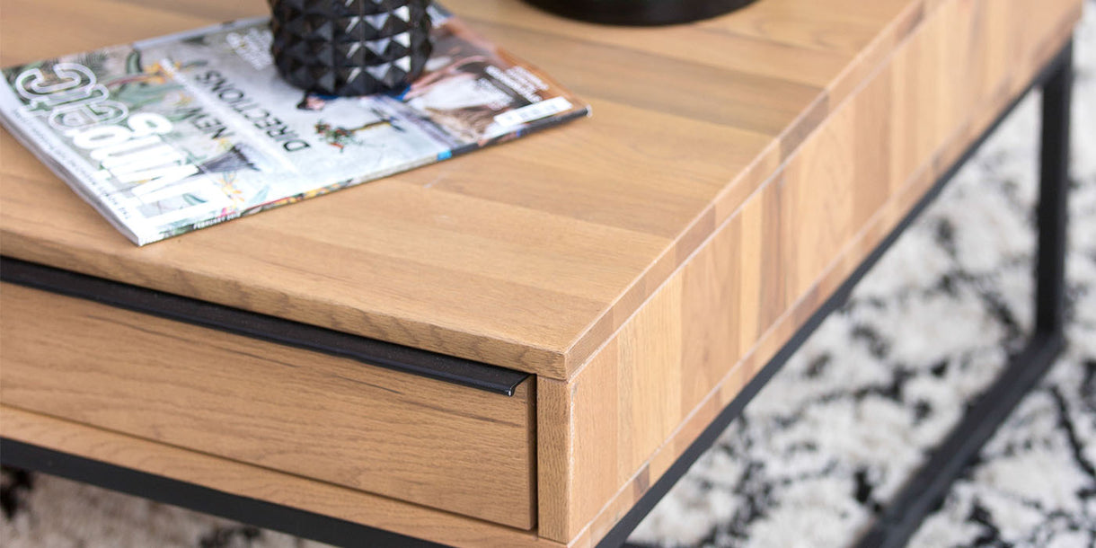 Rocco Industrial Rustic Oak Coffee Table Close up