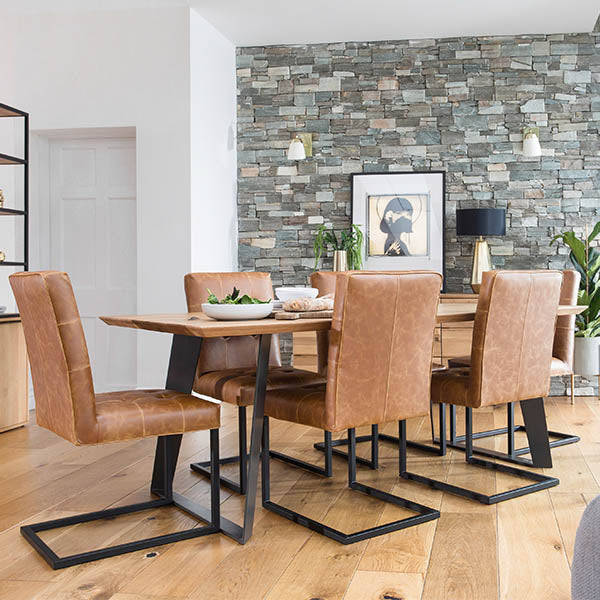 Rocco Oak Dining Table and Faux Brown Leather Dining Chairs