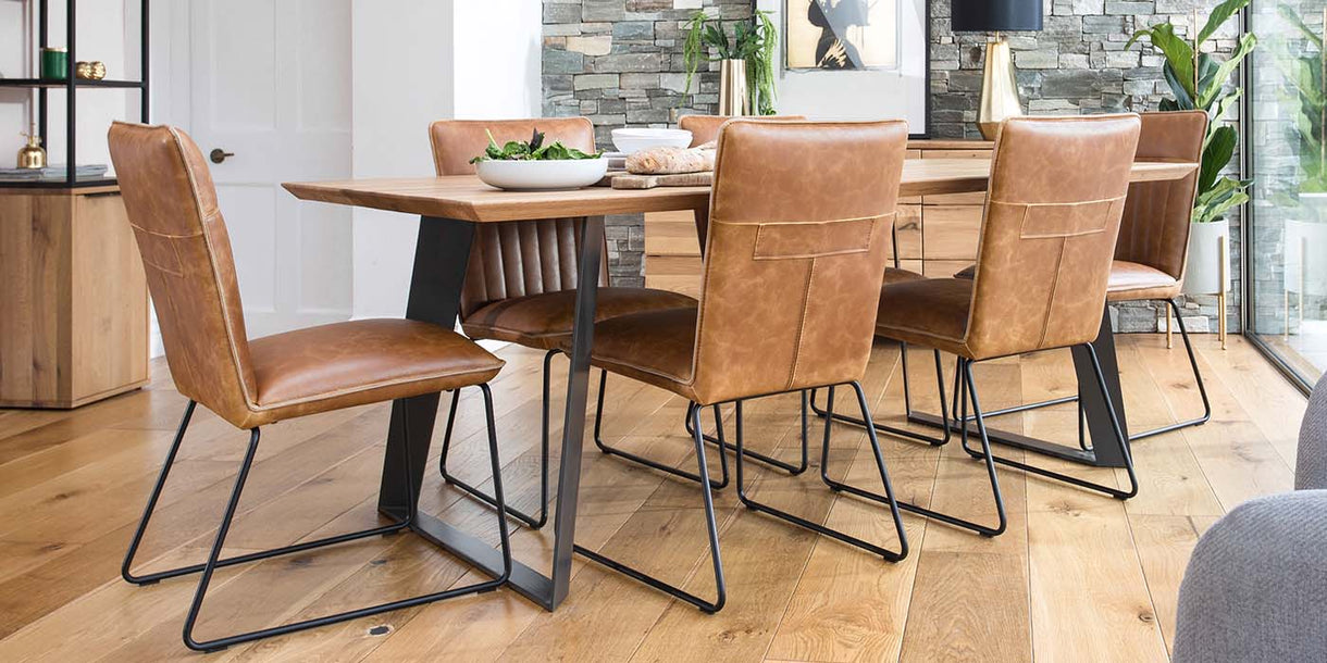 Rocco Industrial Oak Dining Table and Cleo Chairs