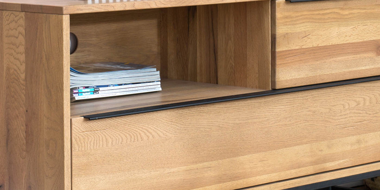 Rocco Industrial Oak TV Unit Close up