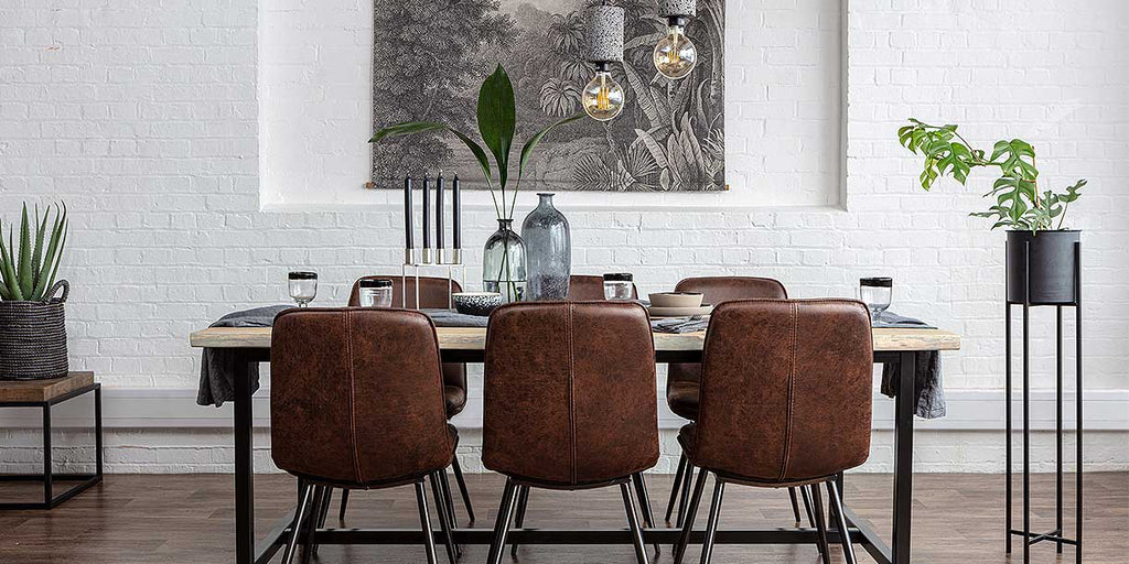 Rock Pendant Lights above dining table