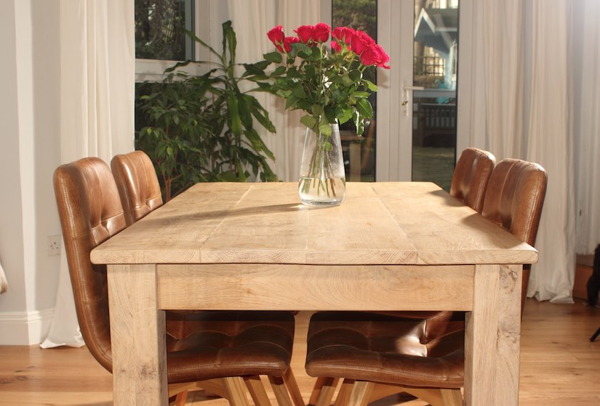 Valentines Red Roses on Oak Dining Table