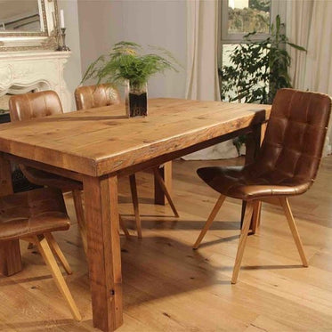 Rustic Farmhouse Dining Table and Leather Chairs