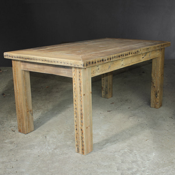 Rustic Inlay Reclaimed Wood Dining Table