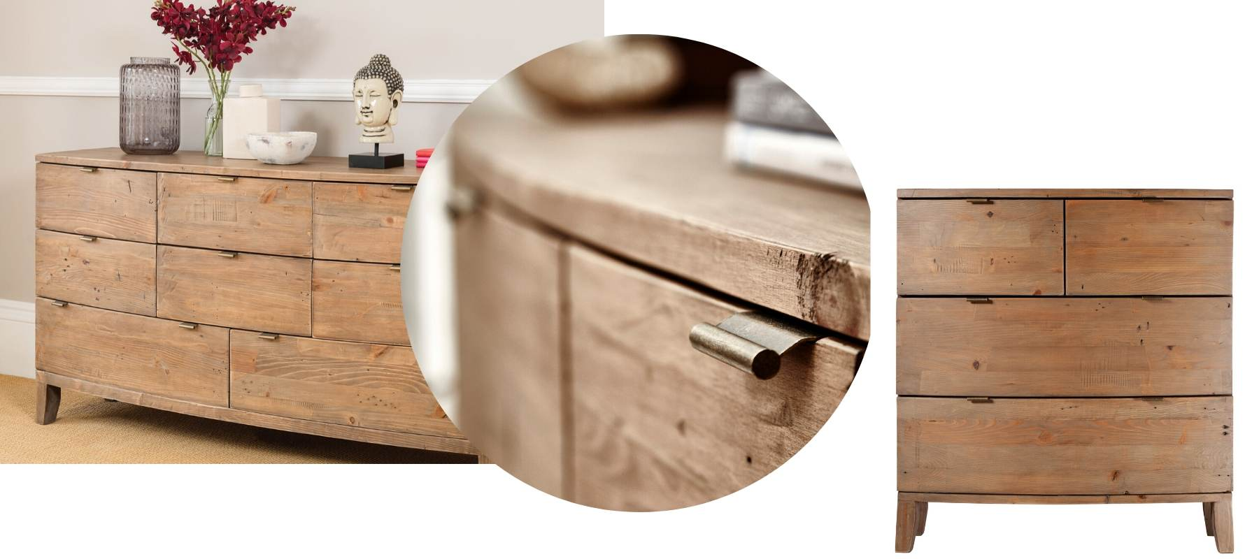 Large wooden chest of drawers, close up of reclaimed wood and medium chest of drawers