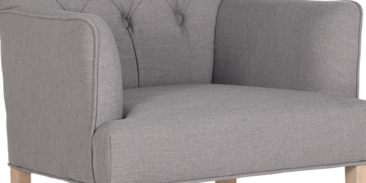 Emirates Grey Upholstered Dining Chair fabric close up