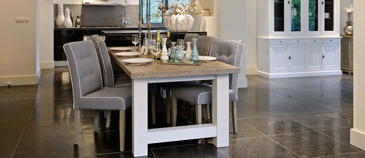 Fulham Grey Upholstered Dining Chair in kitchen