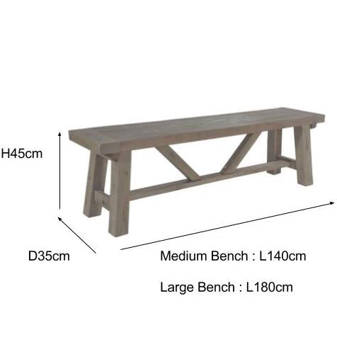 Saltash Reclaimed Wood Bench Measurements