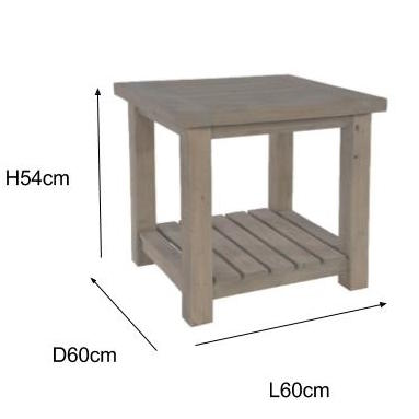 Saltash Reclaimed Wood Side Table Measurements