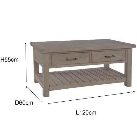 Saltash Reclaimed Wood Coffee Table Measurements