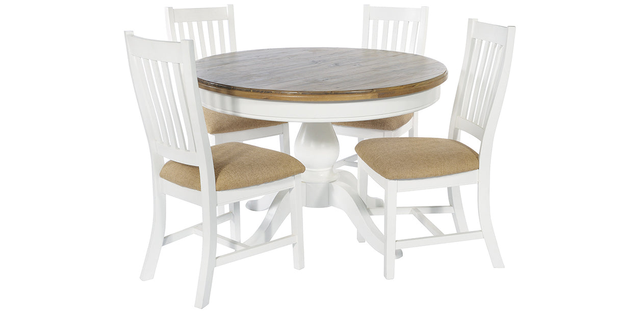 Savannah Lulworth White Dining Chairs and Round Table