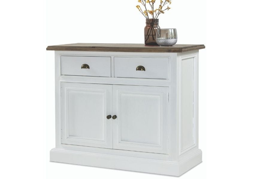 Cut out of medium white painted wooden sideboard with vase on top