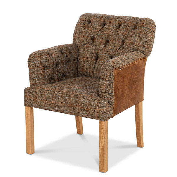 Scout Grand Leather and Harris Tweed Dining Chair