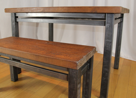 Bespoke steel and reclaimed wood dining table and bench set