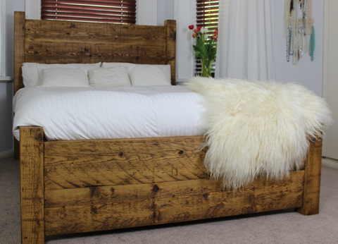 Large double and king size reclaimed wood bed