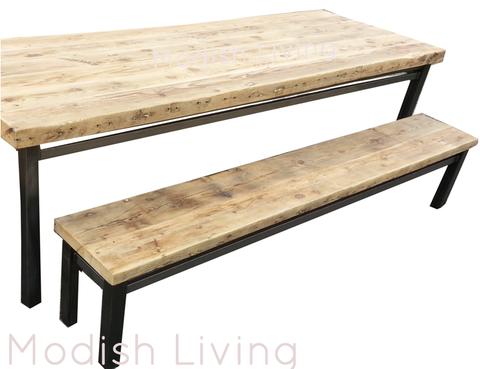Vardo Reclaimed Wood and Steel Dining Table