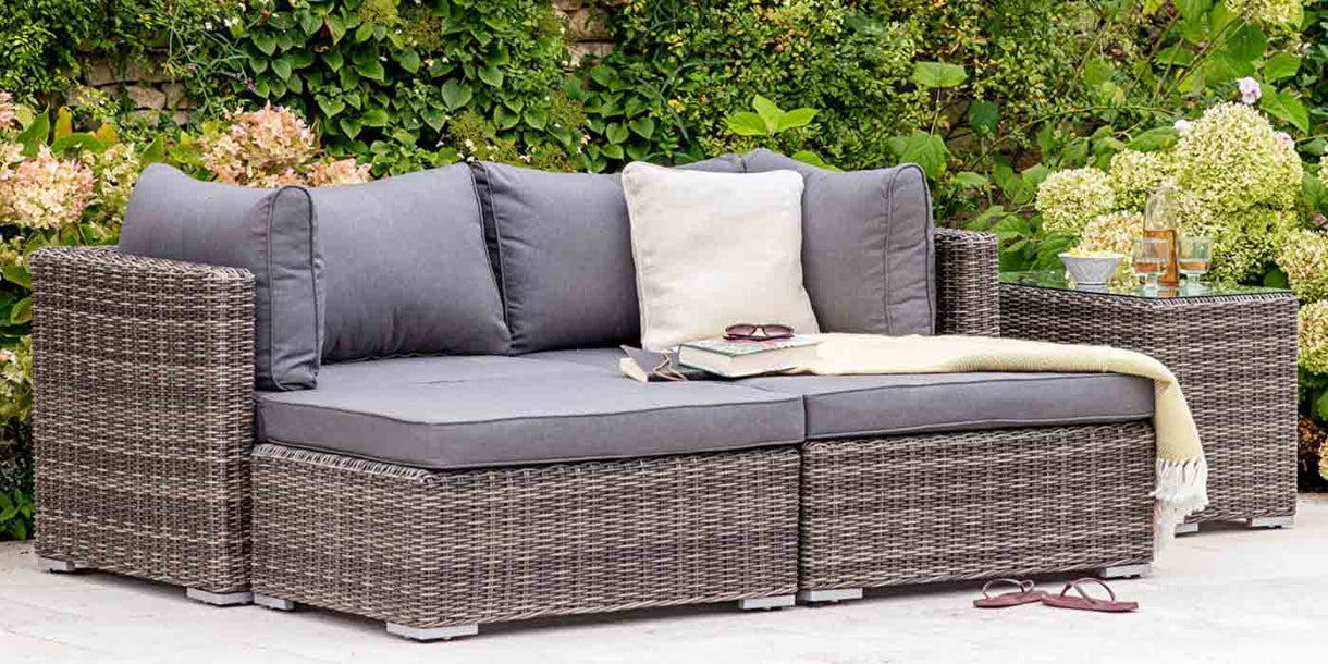 Outdoor Rattan Double Lounger Set with Coffee Table