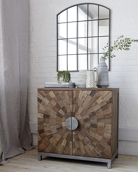 Rustic square elm cabinet with round metal handles and an industrial grid style black metal mirror hanging above