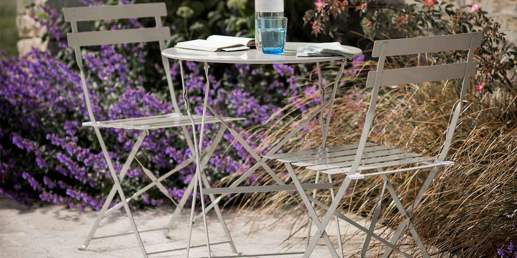 Small Round Table and 2 Chairs Bistro Set in Clay