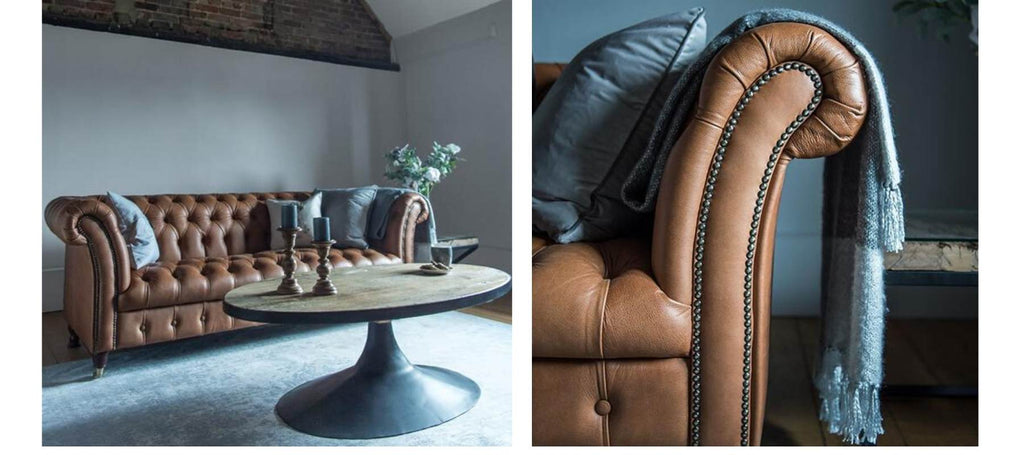 Brown leather sofa with blue blanket and close up of brown leather chesterfield sofa