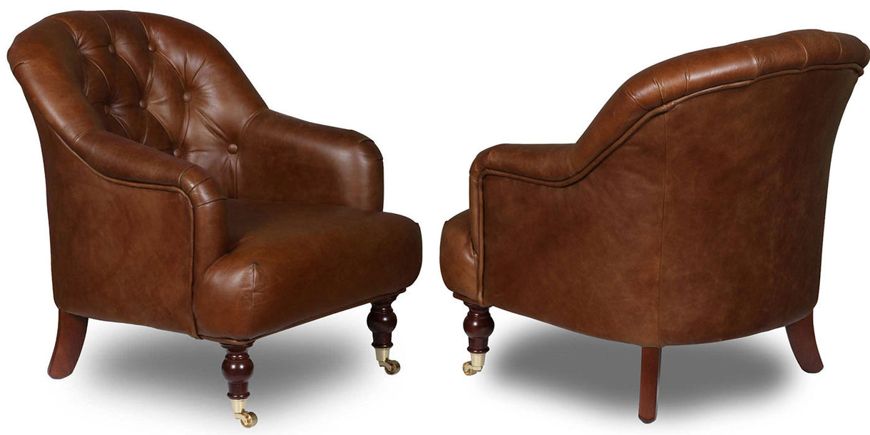 Southwell Brown Cerato Leather Armchairs