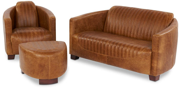 Spitfire Brown Cerato Leather Sofa, Armchair and Footstool