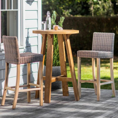 garden set St Mawes Reclaimed Wood Round Bar Table Set