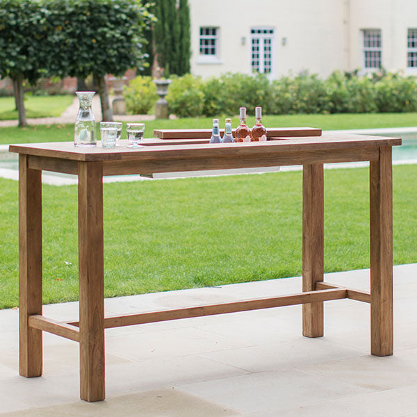 St Mawes Bar Table with Drinks Cooler in Reclaimed Teak