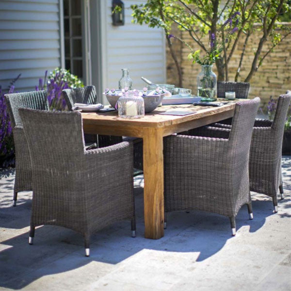 St Mawes Reclaimed Wood Garden Dining table and chairs outdoors