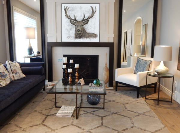 Stag Wall Art Canvas Painting in Living Room