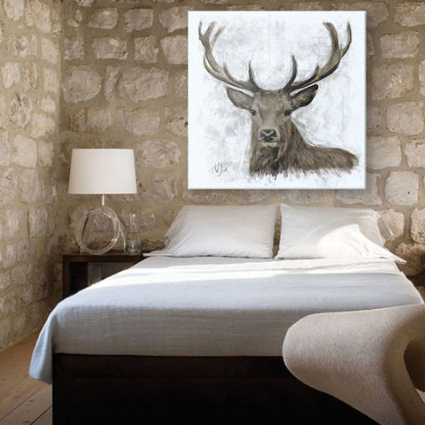 Stag bedroom portrait canvas painting contemporary art