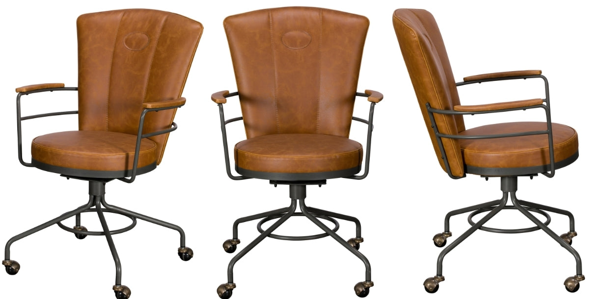 vegan leather office chair in three profiles, showing brown leather markings and industrial legs