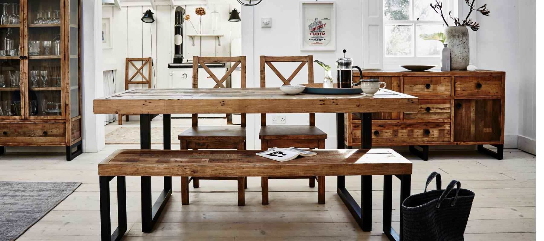 Standford Reclaimed Wood Dining Table & Bench